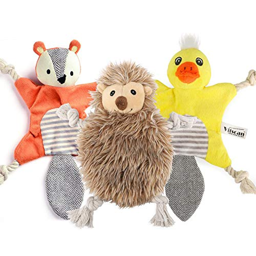 3 Pack Stuffingless Dog Squeaky Toys, Plush Animal Dog Toys with Tug Rope Knots, Hunting Dog Chew Toy Set with Squirrel Duck Hedgehog for Small Medium Dogs
