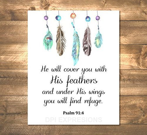 Psalm 91:4 Art Print, He Will Cover You With His Feathers,