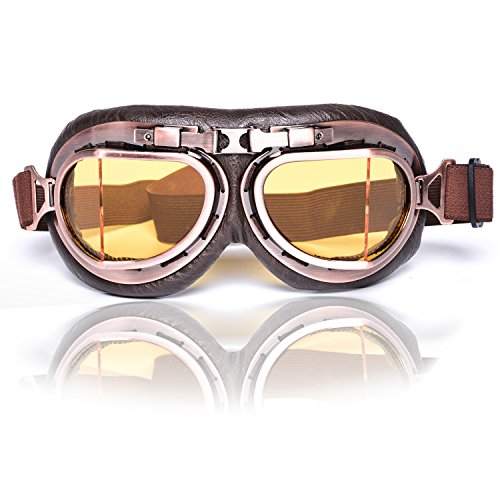 Eteanor Vintage Aviator Goggles WWII RAF German Retro Pilot Style Cafe Racer Motorcycle Off-Road ATV Scooter Cruiser Touring Half Open Face Helmet Snow Ski Steampunk Hat Glasses (Copper 08, Amber)