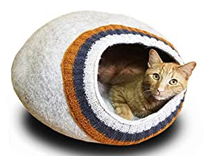 Meowfia Premium Felt Cat Cave (Large) - Eco-Friendly 100% Merino Wool Cat Bed - Soft and Comfy Beds for Large Cats and Kittens (Light Gray/Knitting)