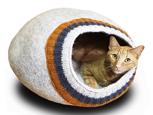 MEOWFIA Premium Wool Cat Bed Cave (Large) - Eco-Friendly 100% Felted Wool Cat Bed for Cats and Cat Lovers (Large, Light Gray with Knitting)
