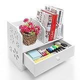 White Laser Cut Flower Design Book Storage Drawer & Display Shelf Rack / Desktop Organizer Bookcase