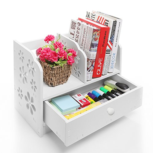 Desktop Kids - White Wood Cut Out Flower Design Book Storage Drawer & Display Shelf Rack / Desktop Organizer Bookcase