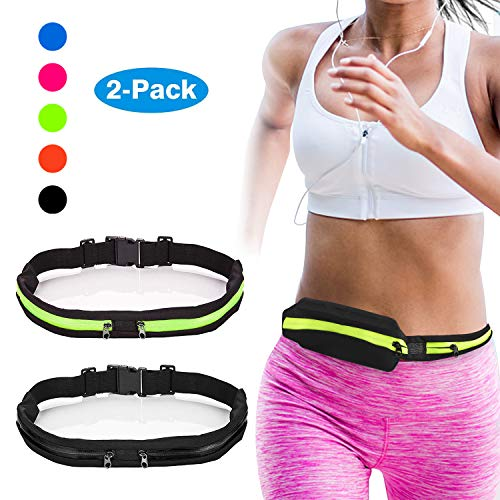 Vetoo Running Belt Waist Pack Fanny Pack with 2 Expandable Pockets for Men and Women Hiking Jogging Walking Cycling etc, Sweatproof Rainproof Mobile Phone Pouch Bag