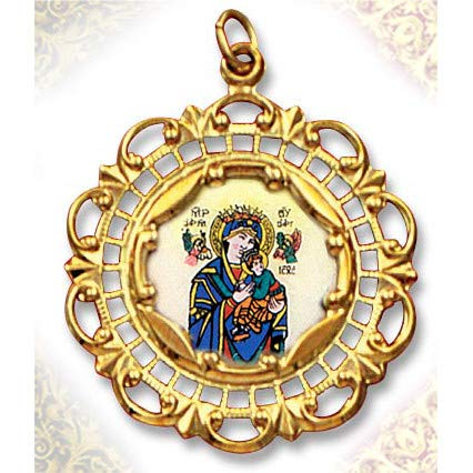 (World Faith 1-3/8 x 1 Inch Perpetual Help Mary and Baby Jesus 10K Gold Framed Hand Painted Porcelain and Enamel Medal Pendant with Bail)