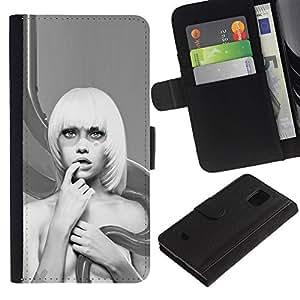 Ihec-Tech / Flip PU Cuero Cover Case para Samsung Galaxy S5 Mini, SM-G800, NOT S5 REGULAR! - Abstract Blonde Woman