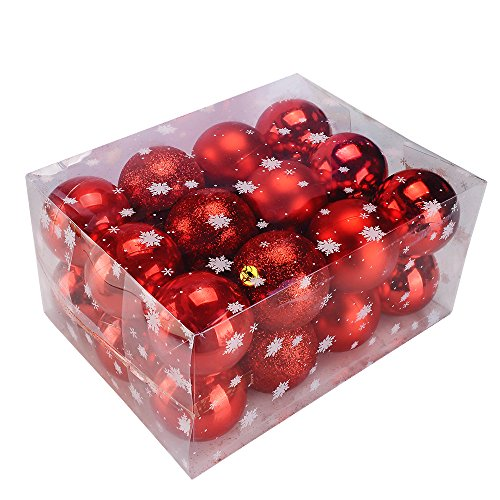 Red Shiny Ball (TIOVERY Christmas Ball Ornaments, Decorations Shatterproof Shiny Polshed Hanging Christmas Ornaments Baubles for Christmas Tree Pack of 24 (Red 2.36''))