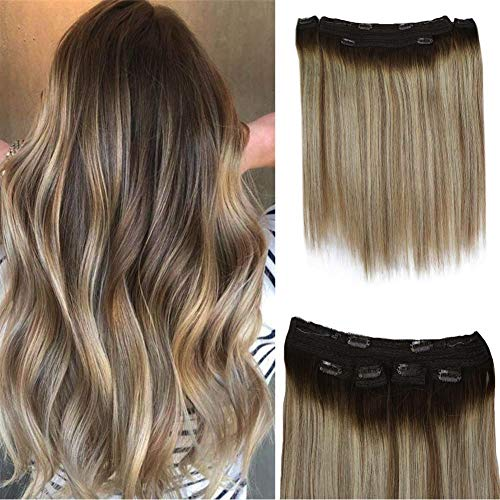 Full Shine Clip In Human Hair 20 Inches Hidden Wire Crown Hair Fish Wire Extensions Human Hair Extensions 120g Remy Straight Long Estenciones De Pelo Humano Con Clip 3 Pieces DIY Hair Extensions