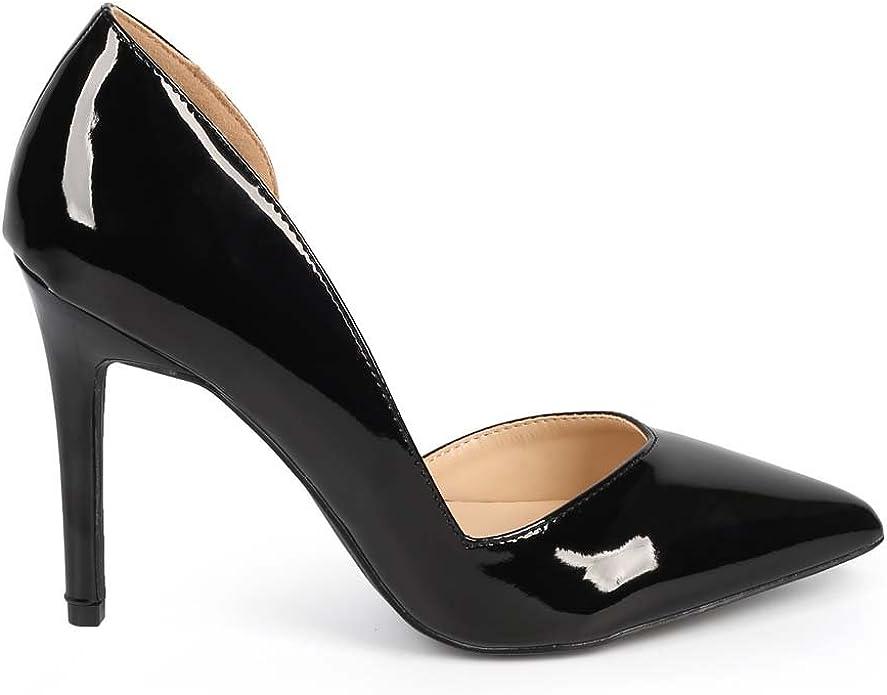 Women Patent Leatherette Pointy Toe Single Sole Pump EI74