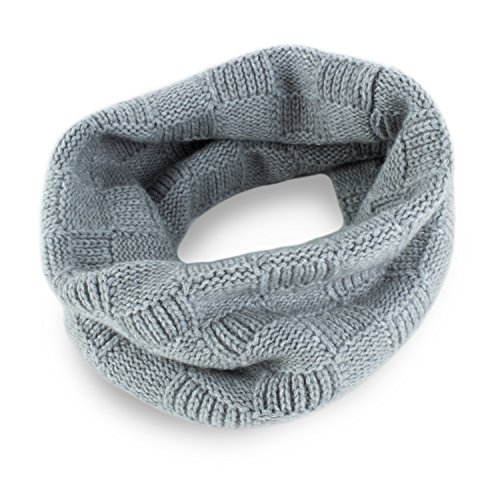 Love Cashmere Mens Checked 100% Cashmere Snood - Light Gray - made in Scotland - RRP $160 by Love Cashmere
