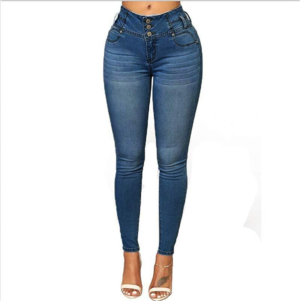 Forthery Women Plus Size Ripped Stretch Slim Denim Skinny Jeans Pants High Waist Leather Leggings for Women Trousers