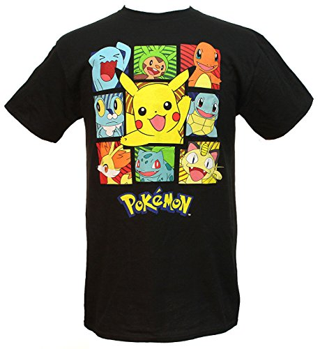 Hybrid Pokemon Men's Pikachu and Friends Group Square Characters Adult T-Shirt (SM)