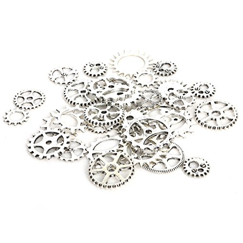 Steampunk Gears, Alotm 100 Gram (Approx 70pcs) Assorted Antique Steampunk Gears Charms Pendant Clock Watch Wheel Gear for DIY Crafting, Jewelry Making Accessory - Cog Sunglasses