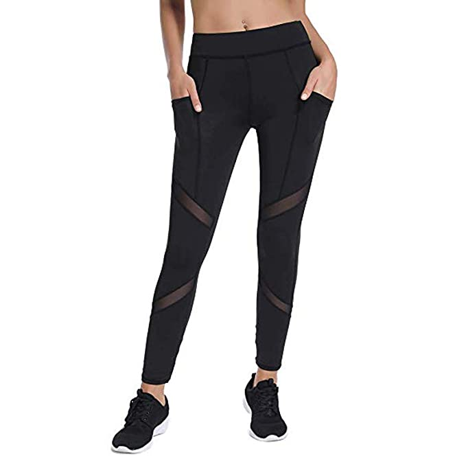d2c34fc59d973 Image Unavailable. Image not available for. Color: Joyshaper Womens Leggings  with Mesh Panels High Waist Workout Yoga Pants Running Tights with Pockets