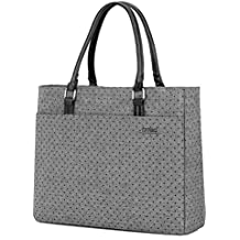 Laptop Tote Bag, DTBG 15.6 Inch Women Shoulder Bag Nylon Briefcase Casual Handbag Laptop Case For 15-15.10 Inch Tablet/Ultra-book/Macbook / Chromebook (Grey+Black Dot)