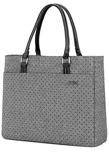 Commuter Portfolio - Laptop Tote Bag, DTBG 15.6 Inch Women Shoulder Bag Nylon Briefcase Casual Handbag Laptop Case for 15-15.10 Inch Tablet/Ultra-Book/MacBook / Chromebook (Grey+Black Dot)