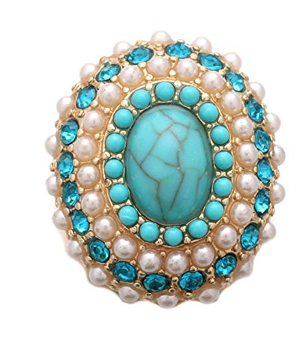 Gold Pearl Blue Teal Rhinestone Turquoise 18mm Snap Charm for Ginger Snaps