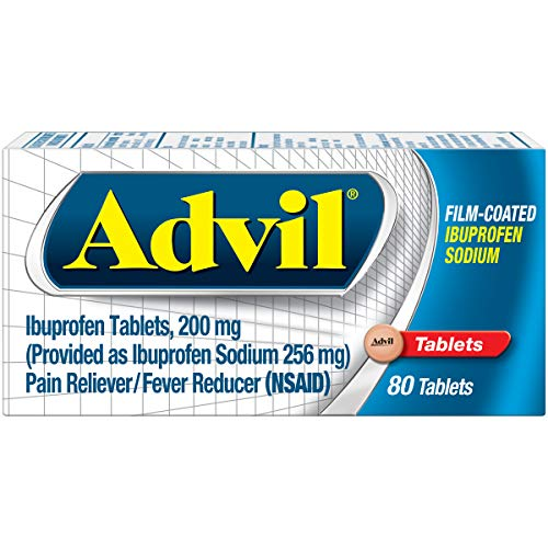 Advil Film-Coated (80 Count) Pain Reliever / Fever Reducer Caplet, 200mg Ibuprofen, Temporary Pain Relief ()