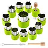vegetable cutter kids - Gimars Non Rusting 18/8 Stainless Steel Fruit Cutter Shapes Set, Vegetable, Cookie Stamp Mold, Sandwiches, Cookie Cutter for Kids Baking, Bento box and Food Decoration Tools Crafts for Kitchen, 12 Pcs