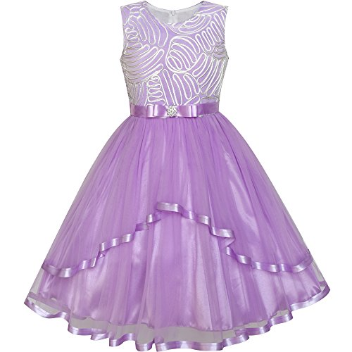 LZ77 Flower Girl Dress Purple Belted Wedding Party