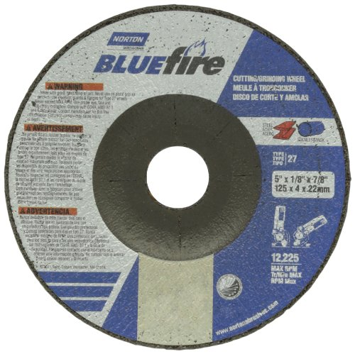 Norton Blue Fire Plus Depressed Center Abrasive Wheel, Type 27, Zirconia Alumina and Aluminum Oxide, 7/8'' Arbor, 5'' Diameter x 1/8'' Thickness  (Pack of 25) by Norton Abrasives - St. Gobain