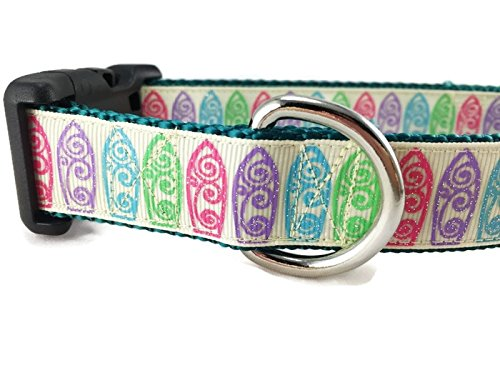 Surfboard Dog Collar, Caninedesign, Surfing, 1 inch Wide, Adjustable, Nylon, Medium and Large (Surfboard, Medium 13-19