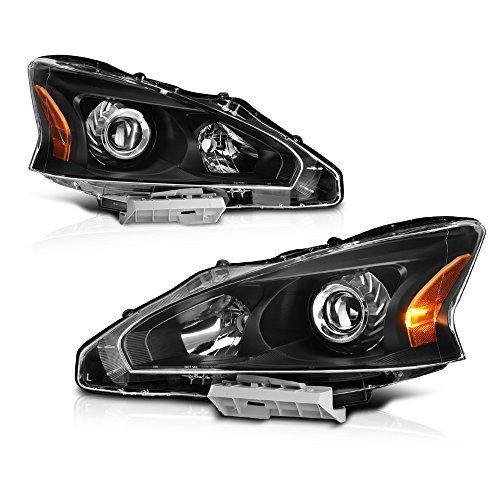 VIPMOTOZ Black Housing OE-Style Projector Headlight Headlamp Assembly For 2013-2015 Nissan Altima Sedan Halogen Model, Driver & Passenger -