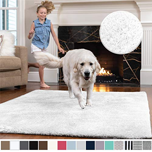 Gorilla Grip Original Faux-Chinchilla Area Rug, 4x6 Feet, Super Soft and Cozy High Pile Washable Carpet, Modern Rugs for Floor, Luxury Shaggy Carpets for Floors, Bed and Living Room, White (White Living Room Rug)