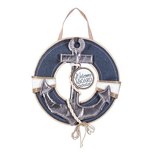 Evergreen Flag Nautical Wreath Outdoor Safe Burlap Door Hanger (For Door Decorating Ideas Front)