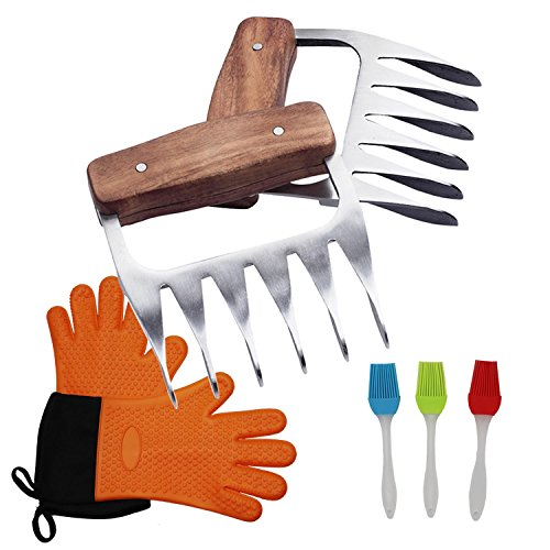 Sougem Cooking Gloves Silicone Heat-Resistant Oven Mitts, Stainless Steel Meat Claws Pork Shredder and 3 Silicone Brushes, Superior Value Premium Set for Outdoor Cooking, Oven, Grilling, Baking by Sougem