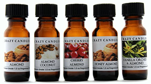 Crazy Candles 5 Bottles Set, 1 Almond, 1 Almond Coconut, 1 Cherry Almond, 1 Honey Almond, 1 Vanilla Orchid Almond 1/2 Fl Oz Each (15ml) Premium Grade Scented Fragrance Oils By ()