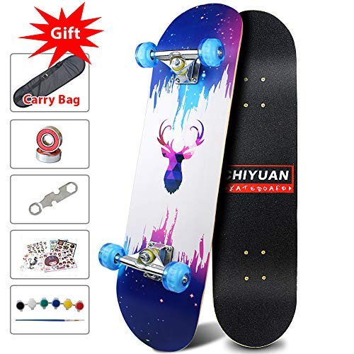 Easy_way Complete Skateboard with Colorful Flashing Wheels for Kids, Boys, Girls, Youths, Beginners 31''x 8''' Canadian Maple Layers (Up Skateboard Light Deck)