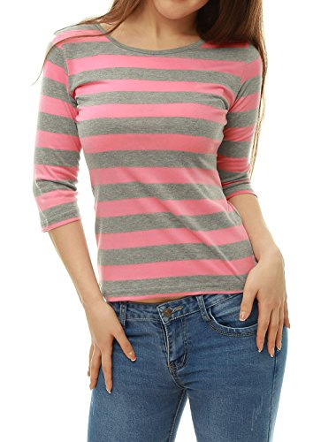 [Allegra K Women Elbow Sleeves Contrast Color Stripes Top S Pink Grey] (Pink Stripe Shirt)