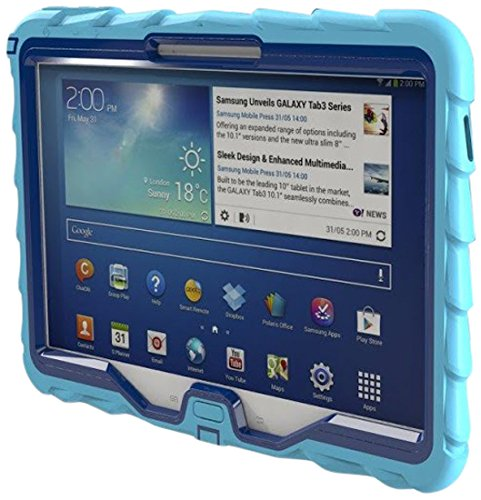 Samsung Tab 3 10 inch (2013) Drop Tech Light Blue Gumdrop Cases Rugged Shock Absorbing Protective Dual Layer Cover Case (Mini Samsung Galaxy Tablet Case compare prices)