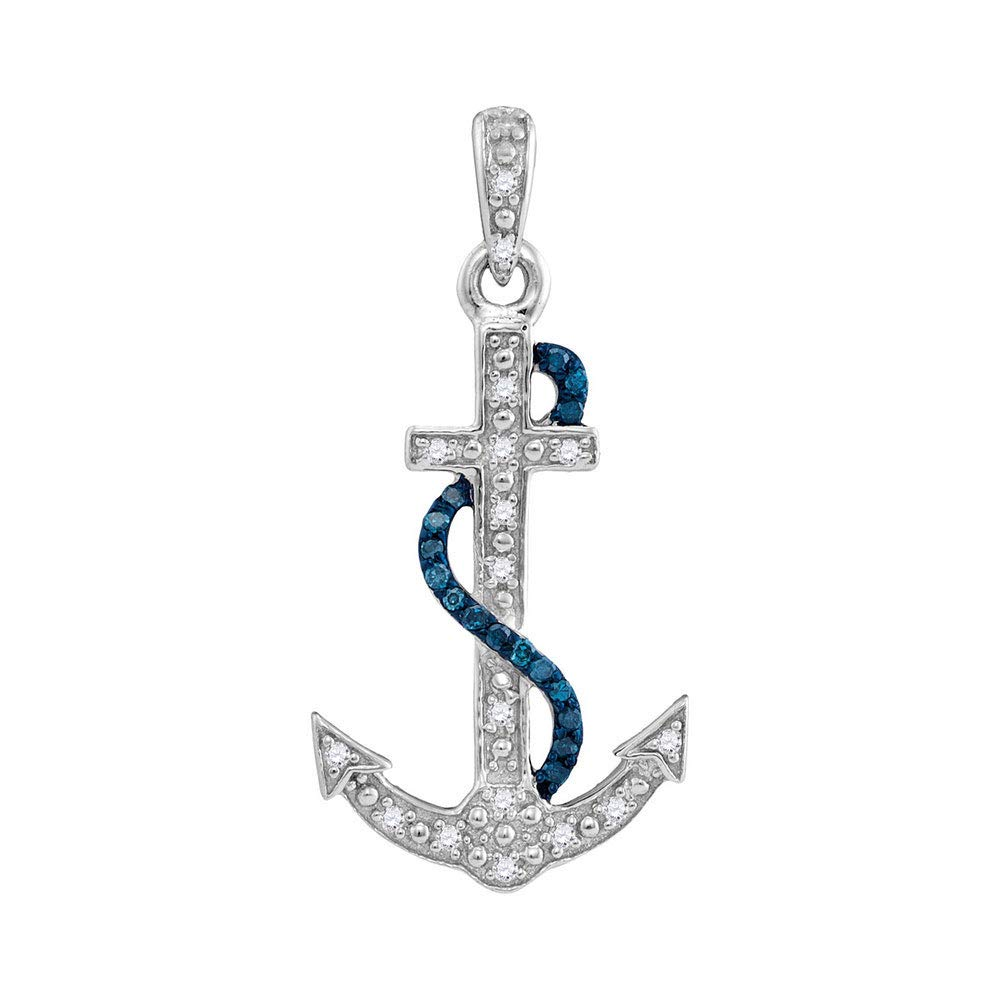 Jewels By Lux Sterling Silver Sterling Silver Womens Round Blue Color Enhanced Diamond Nautical Anchor Pendant 1//10 Cttw