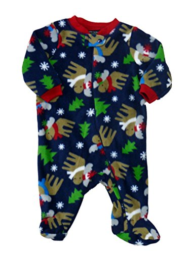 oys Blue Fleece Moose Sleeper Holiday Pajamas NB (Moose Sleeper)