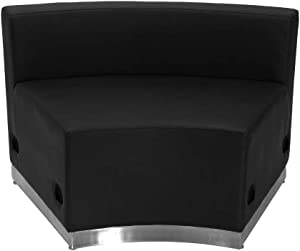 Flash Furniture HERCULES Alon Series Black LeatherSoft Concave Chair with Brushed Stainless Steel Base