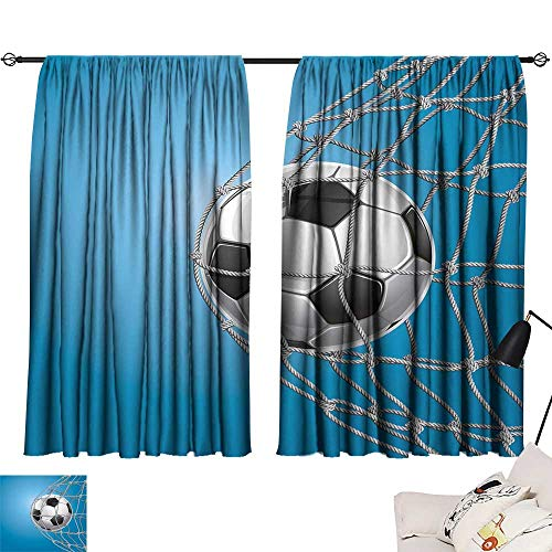 Ediyuneth Turquoise Curtains Soccer,Goal Football in Net Entertainment Playing for Winning Active Lifestyle,Blue Pale Grey Black 54