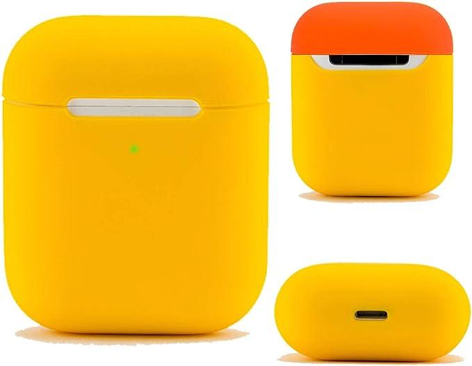 DamonLight Funda protectora de silicona y piel para Apple Airpods 1 y 2 (LED frontal visible) Estuche de carga (amarillo): Amazon.es: Electrónica