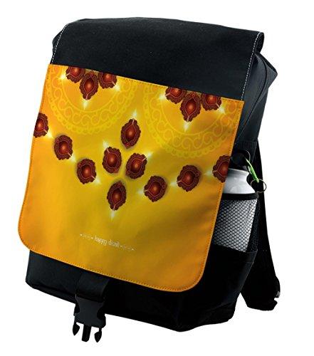 Lunarable Diwali Backpack, Oriental Tribal Arrangement, Durable All-Purpose Bag by Lunarable