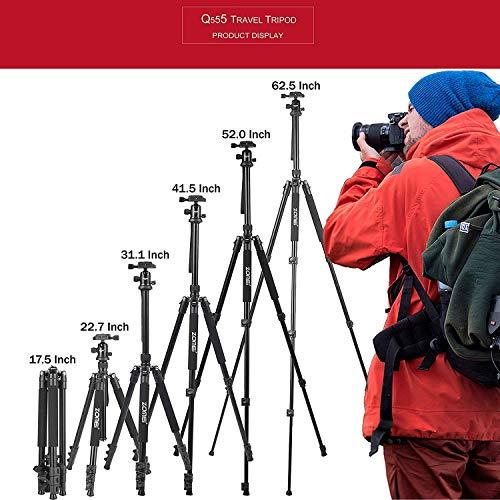 ZOMEI Q555 Kamera Stativ, 158cm Aluminium-Leichtbau Reisestativ, 2-in-1 Fotostativ und Makrostativ, mit 360° Panorama Kugelkopf und 1/4\