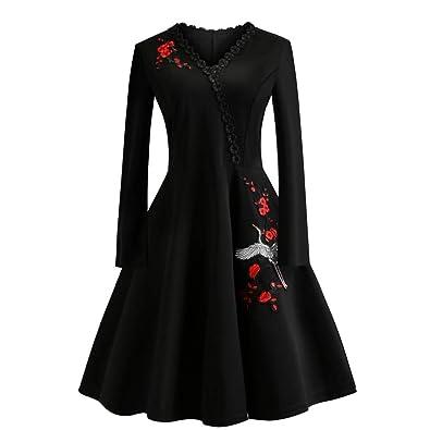 10bf850df88 Kleid Kolylong Damen Elegant V-Ausschnitt Stickerei Langarm Kleid Knielang  Retro Empire Taille Kleider Vintage