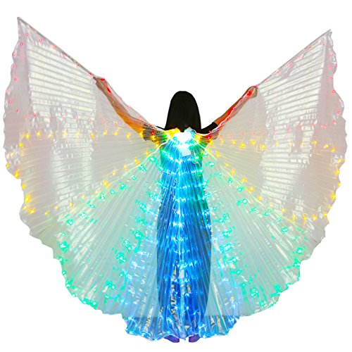 Angel Wings Dance Costume (Dance Fairy Belly Dance LED Colorful Angel Isis Wings with Telescopic Sticks(Red-Yellow-Green-Blue))