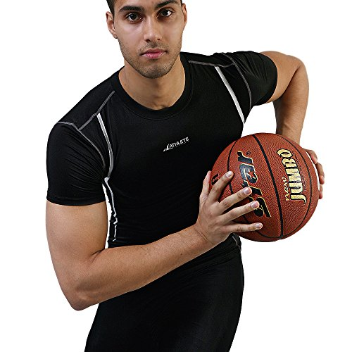 COOVY ATHLETE Men's Sports Compression Base Layer Short Sleeve Top, Style A02 Athlete Short Sleeve Top
