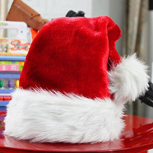 ANGELS--Santa Claus Caps Plush Red and White Santa's Hat for Christmas Party Costume