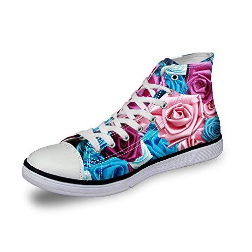 För U Designar Elegant Blommönster Kvinna Spets-up Vacker Hög Topp Bomull Fashion Sneaker Lila