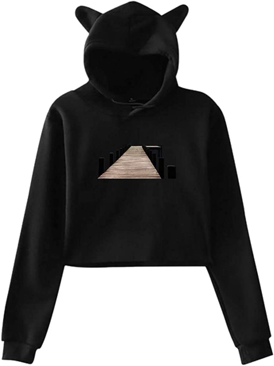 Personality Girl Cat Ears Umbilical Hoodie Fashion Sweatshirt Sweater Black