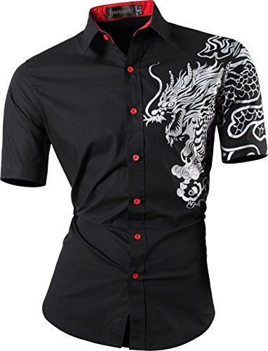 - Sportrendy Men's Slim Short Sleeve Casual Button Down Dress Shirt JZS056 Black L