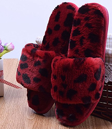 Red Ladies Cattior Indoor Womens Toe Slippers Leopard Open Slippers UUqz8v