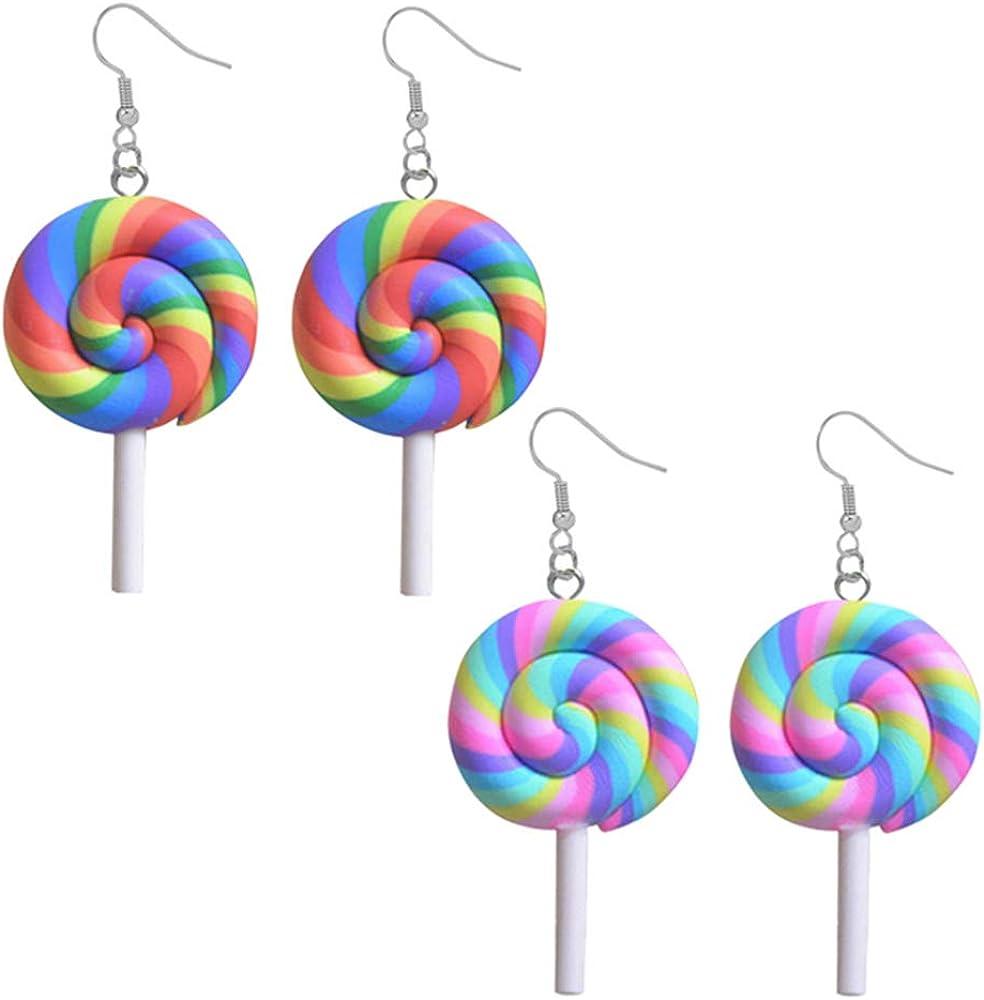 DAMLENG 2 Pairs Creative Unique Simulation Food Colorful Rainbow Lollipop Dangle Earrings Handmade Kawaii Candy Ice Cream Earrings Set for Women Girls Jewelry